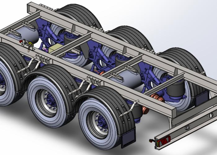 3d модель телеги полуприцепа цистерны