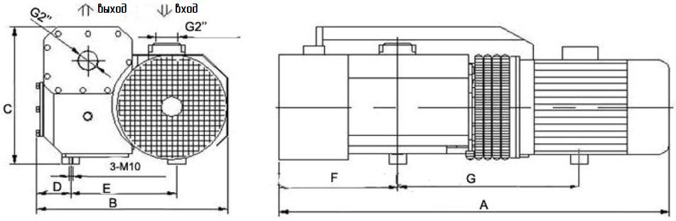 Установочные размеры ПРВН SV-160…SV-300